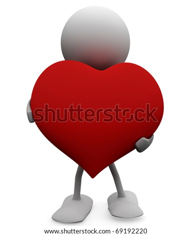 Man with a big generous heart. 3D Love concepts. - stock photo