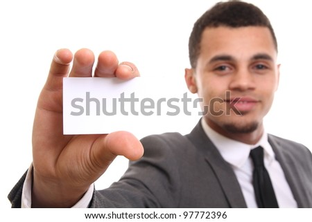 Man with a business card - stock photo