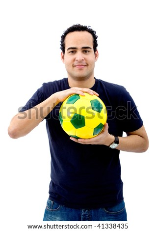 Man with a football isolated over a white background - stock photo