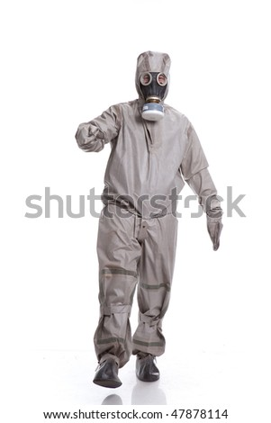 Man with a gas mask - stock photo