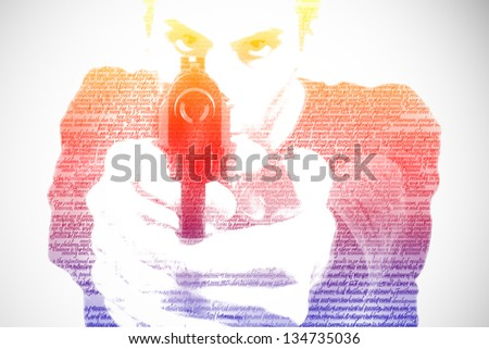 Man with a gun, isolated on a white background - stock photo