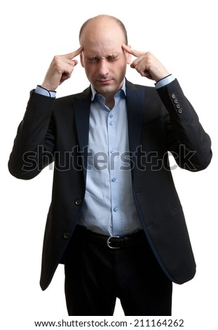 Man with a headache. isolated over white background - stock photo