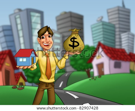 man with a house and a money sack in his hands - stock photo