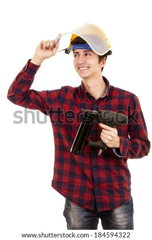 man with a nail gun on a white background - stock photo