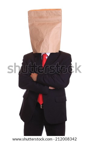Man with a paper bag on head - stock photo