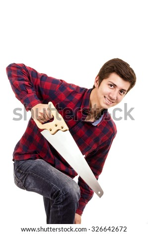 man with a saw on a white background - stock photo
