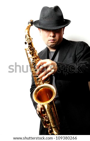 man with a saxophone
