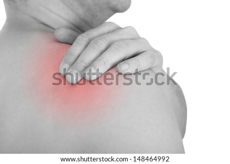 Man With A Shoulder Ache Isolated Over White Background - stock photo
