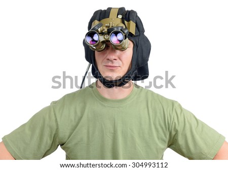 Man with a tank a night vision device on white background. File contains a path to isolation. - stock photo