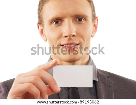 Man with a visit card isolated on white - stock photo