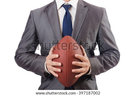 Man with american football ball isolated on white - stock photo