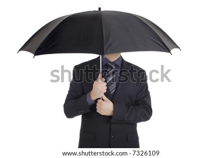 Man with an umbrella against white background - stock photo