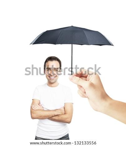 man with an umbrella closes to rain - stock photo