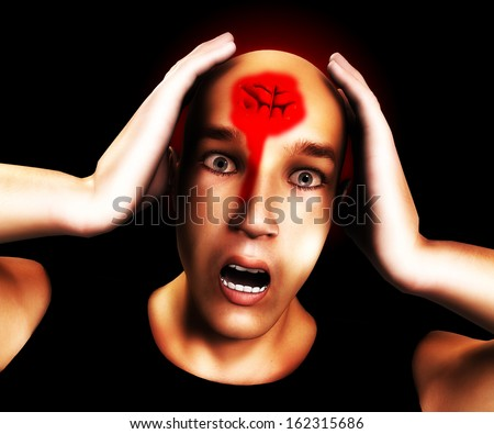 Man with  bad head wound.   - stock photo