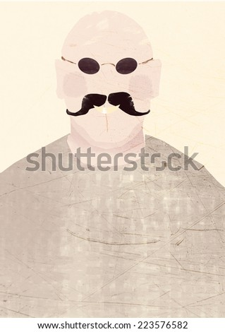 Man with bald head and big mostaches smiling, illustration.  Hand-drawn painted cartoon. Soft colors, retro. Isolated. Empty space for text and typography.