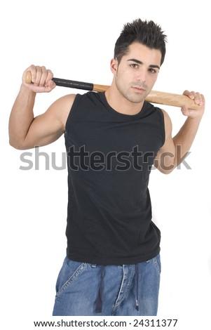 man with baseball bat on his shoulder - stock photo