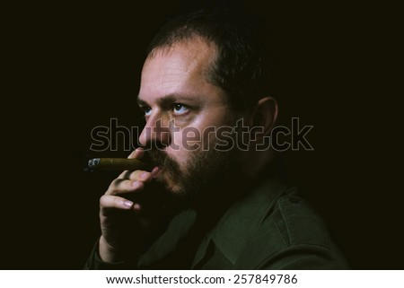 Man with beard and mustaches, smoking the cigar, on the dark background - stock photo