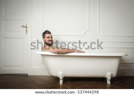 Man Beard Having Bath White Buthtub Stock Photo 537444298
