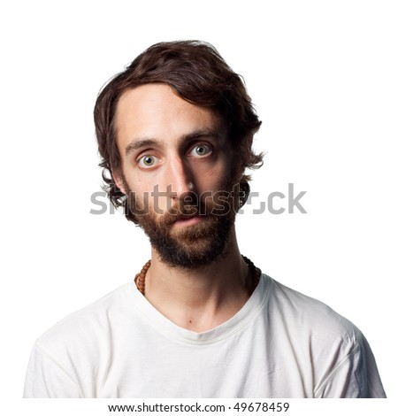 Man with beard stares