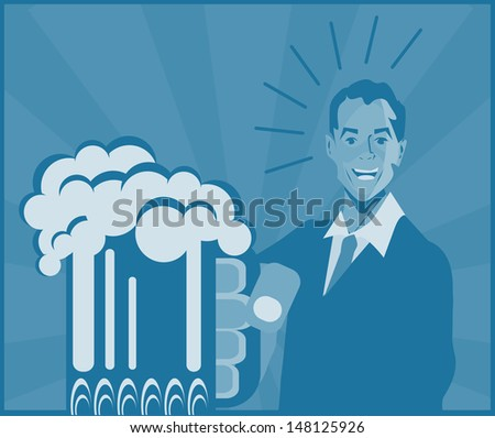 Man With Beer poster - stock photo