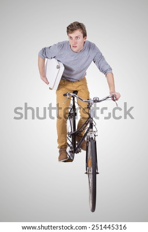 man with bicycle on white background