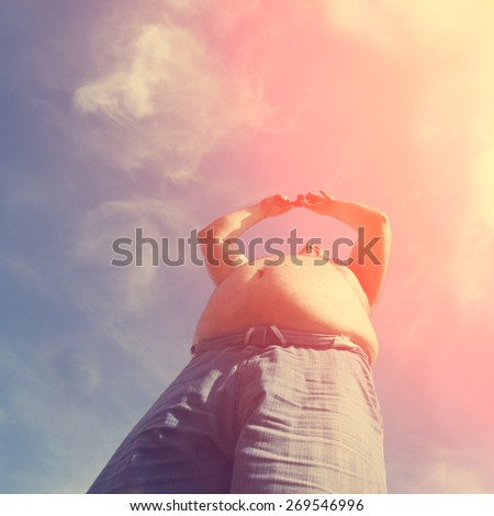 man with big belly - instagram style - stock photo