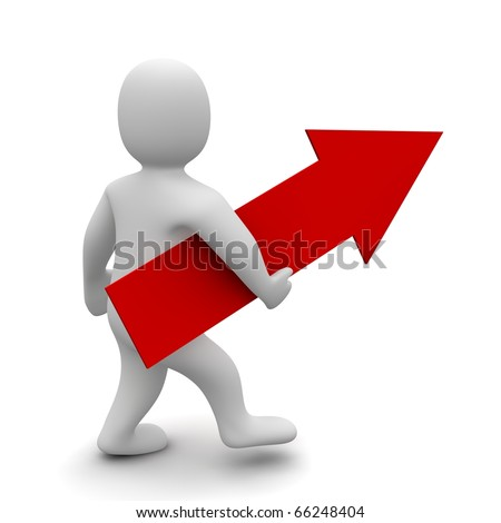 Man with big red up pointing arrow . 3d rendered illustration. - stock photo