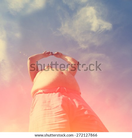 man with big stomach - stock photo