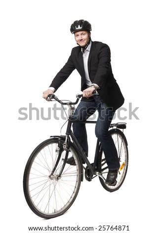 man with bike - stock photo