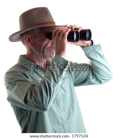 man with binoculars isolated
