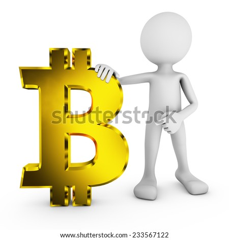 man with Bitcoin symbol on a white background