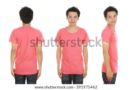 man with blank pink t-shirt isolated on white background
