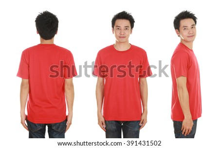 man with blank red t-shirt isolated on white background