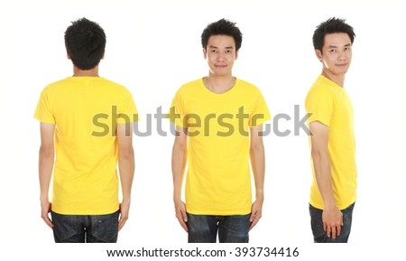 man with blank yellow t-shirt isolated on white background