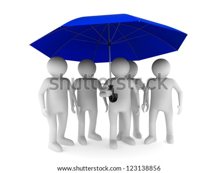 man with blue umbrella on white background. Isolated 3D image - stock photo