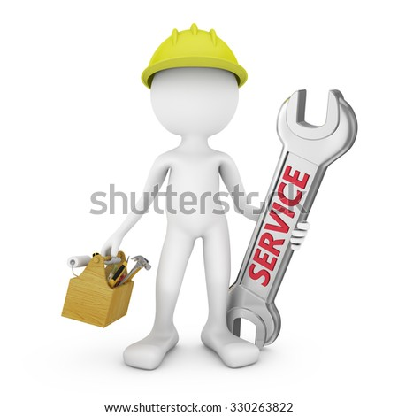 man with box of tools and wrench
