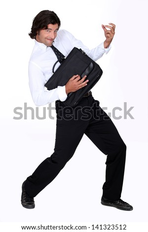 Man with briefcase - stock photo