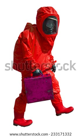 Man with briefcase in protective hazmat suit, isolated on white - stock photo