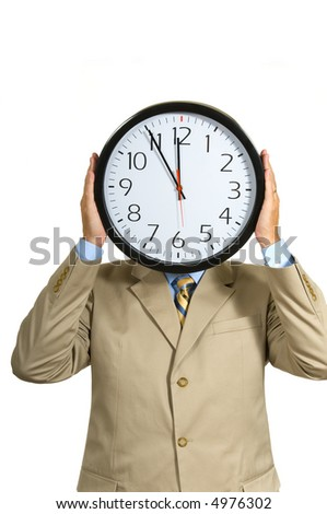 Man with brown business suit with clock over face