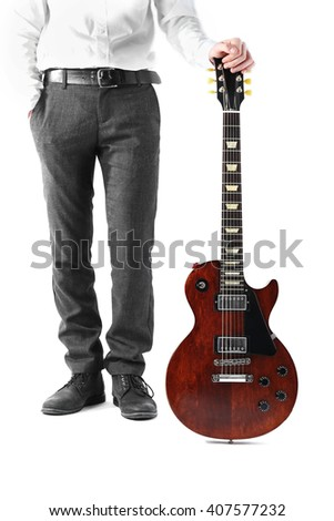 Man with brown electric guitar, isolated on white - stock photo