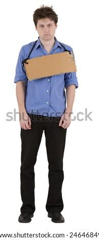 Man with carton tablet on neck on white - stock photo