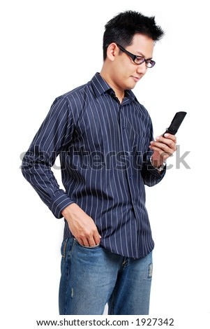 Man with cell phone - stock photo