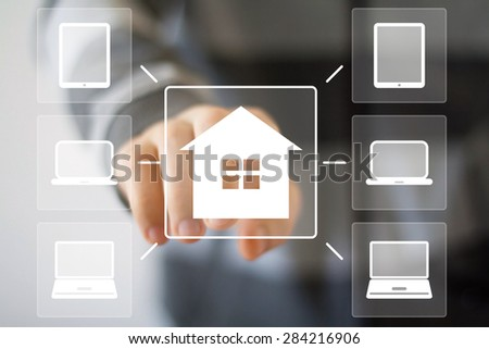 Man with chart business web house computer home media