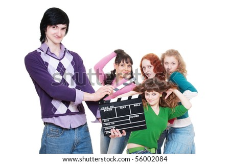 man with clapboard over women. isolated on white background - stock photo