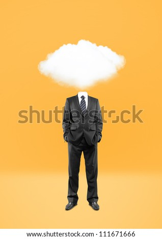 man with cloud instead of head on yellow background - stock photo