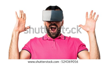 Man with colorful clothes using VR glasses