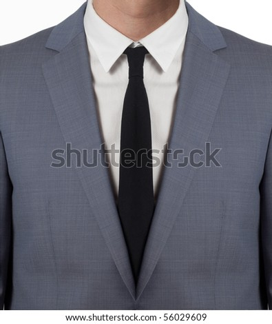 man with costume and black tie isolated on white - stock photo