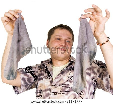 man with dirty socks