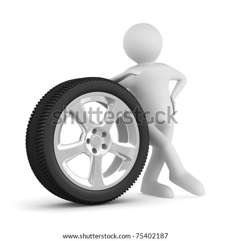 man with disk wheel on white background. Isolated 3D image - stock photo