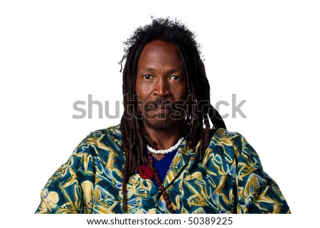 Man with dreadlocks looking serious, isolated on white - stock photo